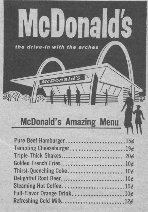 77年前麦当劳第一张菜单曝光,吃上麦当劳可是土豪的象征