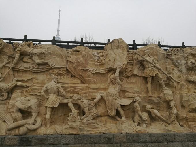 这里有大禹治水的石雕群. 不要激动,这个是垂丝海棠.