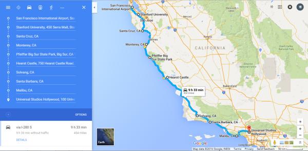 三明治进来的。从环球影城出来,开到离洛杉矶市区最近的海边圣莫妮卡海滩住宿,准备明天一早游玩。回到酒店脑海里还浮现着变形金刚,然而身体已经倒在床上不省人事。忙叨而又激动的一天到此结束~ 看攻略说圣莫妮卡是洛杉矶人很常去的海边度假胜地,也许是我们一路以来看海看得太多了,实在是没什么惊艳的,而且最要命的是完全没地方停车,附近几个街区绕了好几圈,不是红线禁停就是没有地方,在找停车位的过程中,这里的景色已经一览无余,我们也没有老外那个闲功夫在海边坐几个小时晒太阳,况且后面还有更重要的行程  奥特莱斯!于是在绕错了几